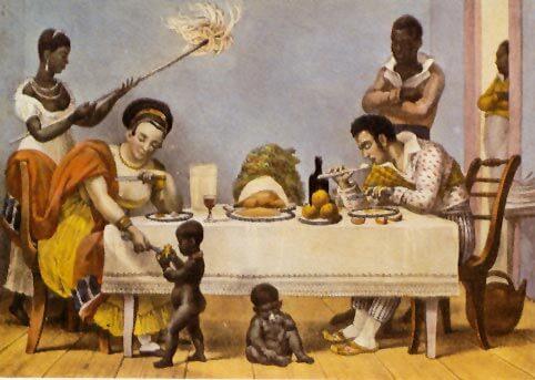 'Um jantar brasileiro'. Gravura de Jean-Baptiste Debret, 1827 (Google)